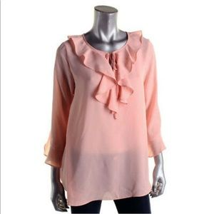 Max Studio Peach Ruffled Chiffon Blouse